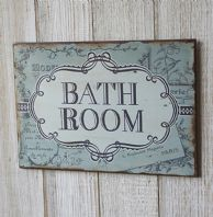 Shabby Chic Vintage Styled Beautiful Blue 'Bathroom' Distressed Metal Plaque